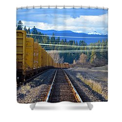 Yellow Train To The Mountains Shower Curtain