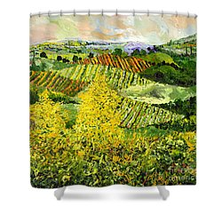Yellow Trees Shower Curtain by Allan P Friedlander