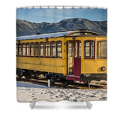 Yellow Trolley Shower Curtain by Sue Smith