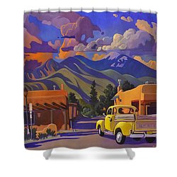 Shower Curtain featuring the painting Yellow Truck by Art James West