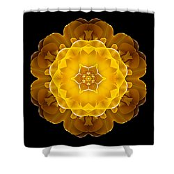 Yellow Tulip II Flower Mandala Shower Curtain