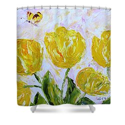 Yellow Tulips And Butterfly Shower Curtain