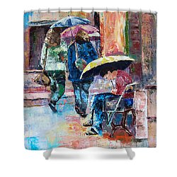 Yellow Umbrella Shower Curtain by Janet Garcia