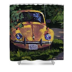 Yellow Vee Dub - Art By Bill Tomsa Shower Curtain