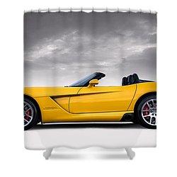 Yellow Viper Roadster Shower Curtain by Douglas Pittman