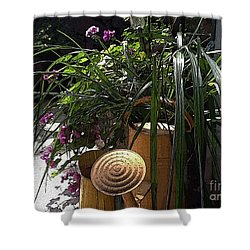 Yellow Watering Cans Shower Curtain by Yvonne Wright