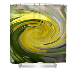 Shower Curtain featuring the digital art Yellow Whirlpool by Luther Fine Art