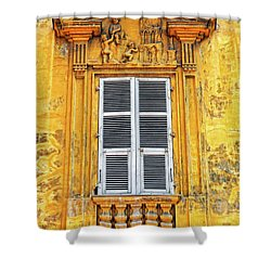 Shower Curtain featuring the photograph Yellow Window Nice France by Dave Mills