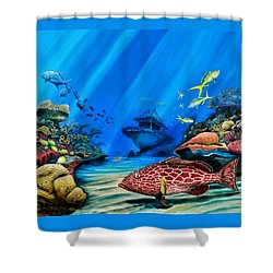 Shower Curtain featuring the painting Yellowfin Grouper Wreck by Steve Ozment