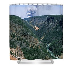 Yellowstone Afire Shower Curtain by Sandra Bronstein
