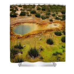 Yellowstone Hot Pool Shower Curtain by Ausra Huntington nee Paulauskaite