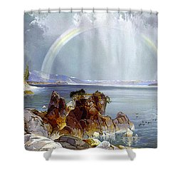 Yellowstone Lake 1875 Shower Curtain by Unknown