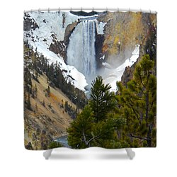 Yellowstone Lower Falls In Spring Shower Curtain by Michele Myers