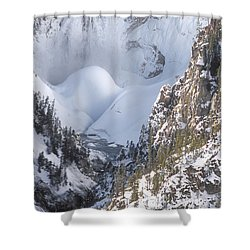Yellowstone -  Lower Falls In Winter Shower Curtain by Sandra Bronstein