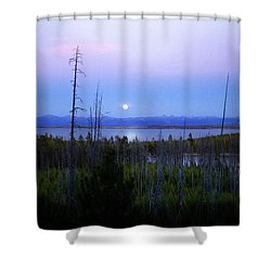 Shower Curtain featuring the photograph Yellowstone Moon by Ann Lauwers