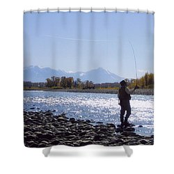 Yellowstone River Fly Fishing Shower Curtain