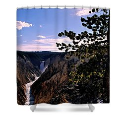 Yellowstone Waterfall Shower Curtain by Matt Harang