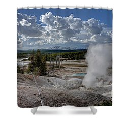 Shower Curtain featuring the photograph Yellowstone's Norris Geyser Basin by Bill Gabbert