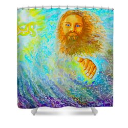 Shower Curtain featuring the painting Yhshuwh Savior by Hidden  Mountain