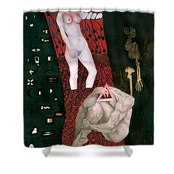 Shower Curtain featuring the painting Yin Yang Birth Death by Fei A