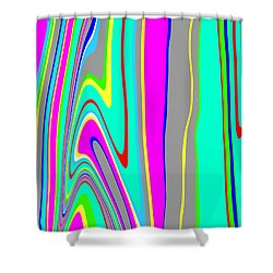 Shower Curtain featuring the painting Yipes Stripes II  C2014 by Paul Ashby
