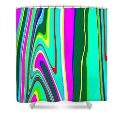 Shower Curtain featuring the painting Yipes Stripes II Variation  C2014 by Paul Ashby
