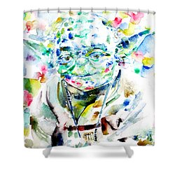 Yoda Watercolor Portrait.1 Shower Curtain by Fabrizio Cassetta