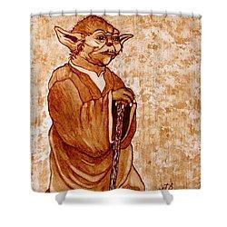 Shower Curtain featuring the painting Yoda Wisdom Original Coffee Painting by Georgeta Blanaru
