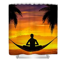 Yoga At Sunset Shower Curtain