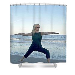 Yoga Woman On The Beach Shower Curtain