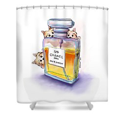 Yorkie Chanel Crazies Shower Curtain