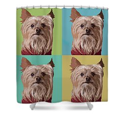 Yorkie Times Four Shower Curtain