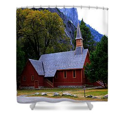 Yosemite Fall  Chapel  Shower Curtain by Duncan Selby