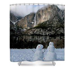 Yosemite Falls Snowmen Shower Curtain by Patricia Sanders