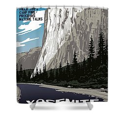 Yosemite National Park Vintage Poster 2 Shower Curtain by Eric Glaser
