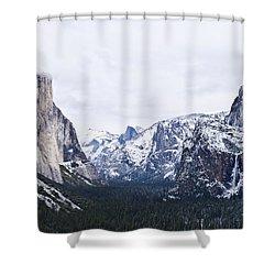 Yosemite Tunnel View In Winter Shower Curtain by Priya Ghose