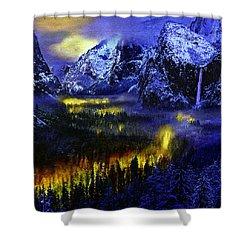Yosemite Valley At Night Shower Curtain by Bob and Nadine Johnston