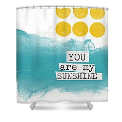 You Are My Sunshine- Abstract Mod Art Shower Curtain by Linda Woods