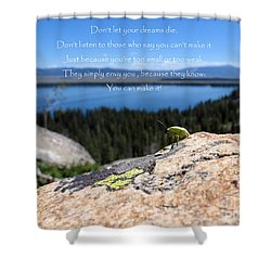 Shower Curtain featuring the photograph You Can Make It. Inspiration Point by Ausra Huntington nee Paulauskaite