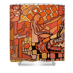 Shower Curtain featuring the painting You Me And The Machine by Barbara St Jean