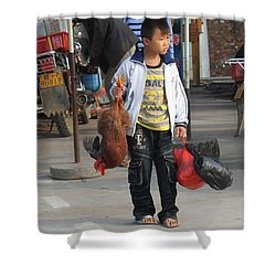 Young Boy Carrying A Dead Chicken To School Shower Curtain