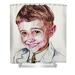 Young Boy Shower Curtain by PainterArtist FIN