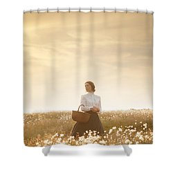 Young Edwardian Woman In A Meadow Shower Curtain by Lee Avison