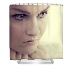 Young Elegant Woman In Glamour Fashion Shower Curtain by Michal Bednarek