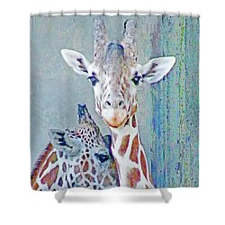 Young Giraffes Shower Curtain