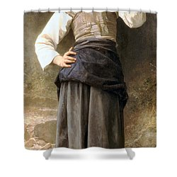 Young Girl Going To The Fountain Shower Curtain by William Bouguereau