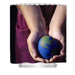 Young Girl Holding Earth Egg Shower Curtain by Jim Corwin