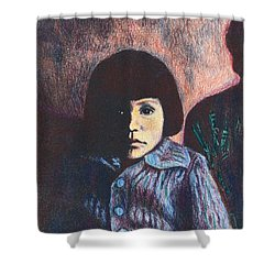 Young Girl In Blue Sweater Shower Curtain by Kendall Kessler