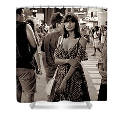 Girl With Red Dress - Times Square Shower Curtain