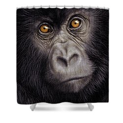 Young Gorilla Painting Shower Curtain by Rachel Stribbling